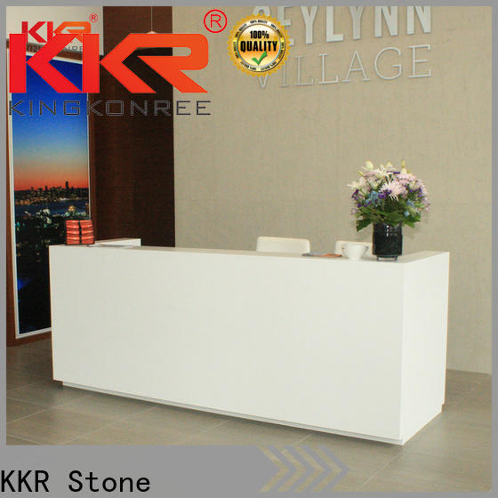 fashion design solid surface reception desk circle in special shapes for worktops