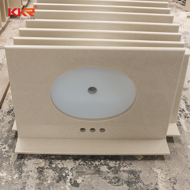 Beige Clor Acrylic Ssolid Surfce Bathroom Countertop & Vanity Top KKR-VT002