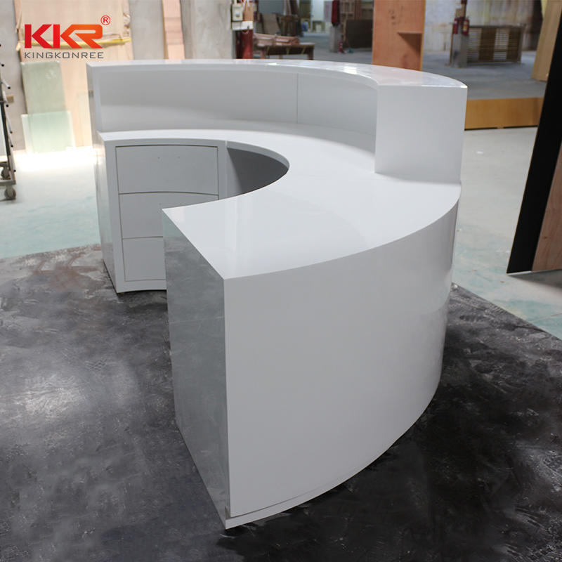 KKR Stone white acrylic solid surface worktops vendor for bar table