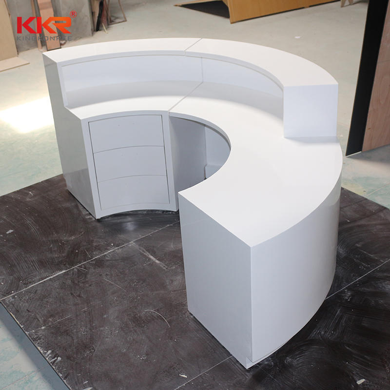 Customized Artificial Stone Acrylic Solid Surface Reception & Office Desk KKR-RD001