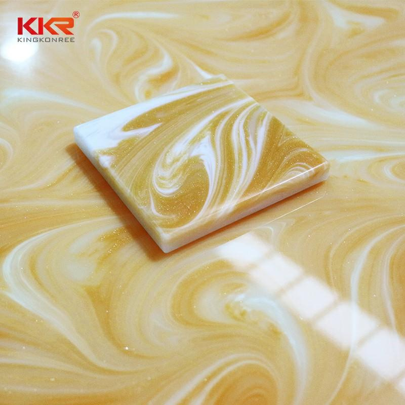Yellow Color Acrylic Stone Translucent Solid Surface Sheets KKR-A031
