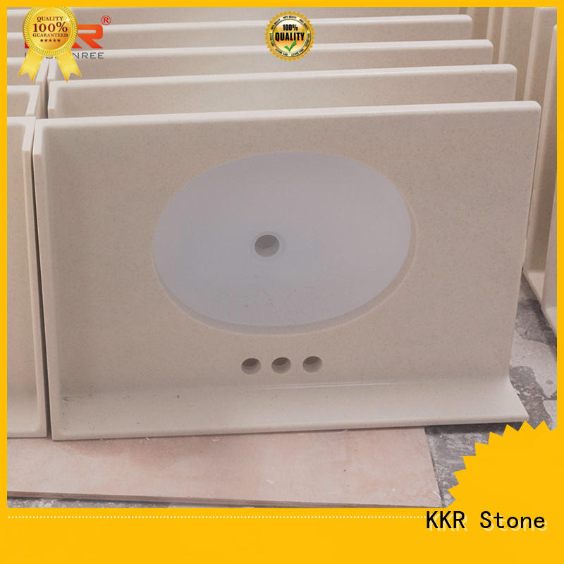 KKR Stone double Sink acrylic solid surface countertops vendor for kitchen tops