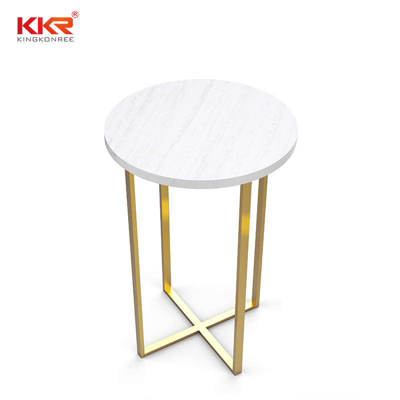 Round Solid Surface Side Table With Golden Metal Leg KKR-ST03