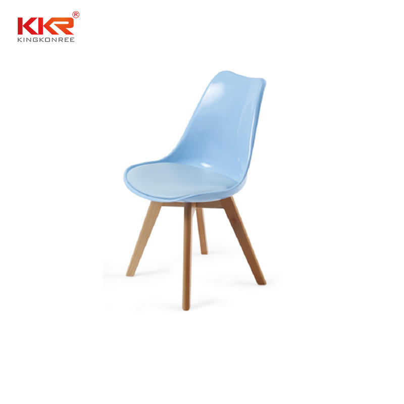 Classic Modern Design Plastic Pyramid Dining Chair With Wooden Base KKR - AS - 115D1
