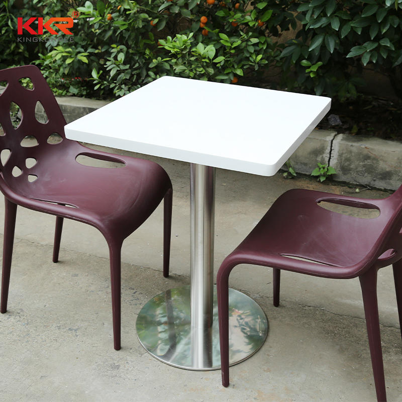 2 People Seats White Marble Acrylic Solid Surface Coffee Table KKR-TP2