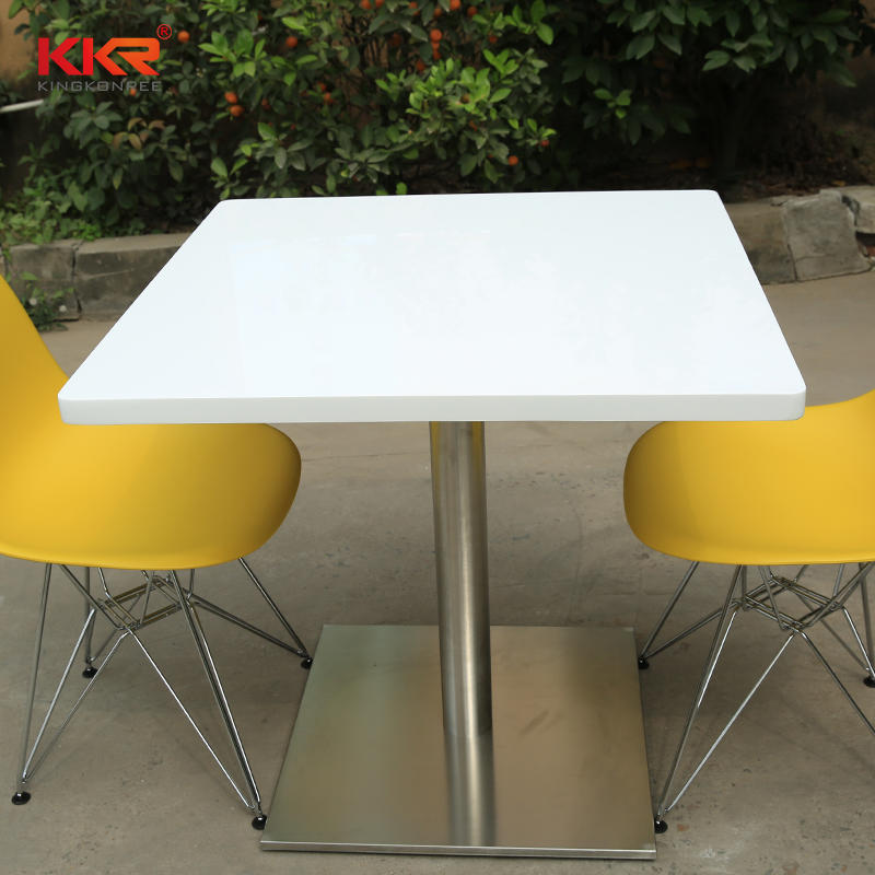 White Marble Acrylic Solid Surface Dining Table KKR-TP6