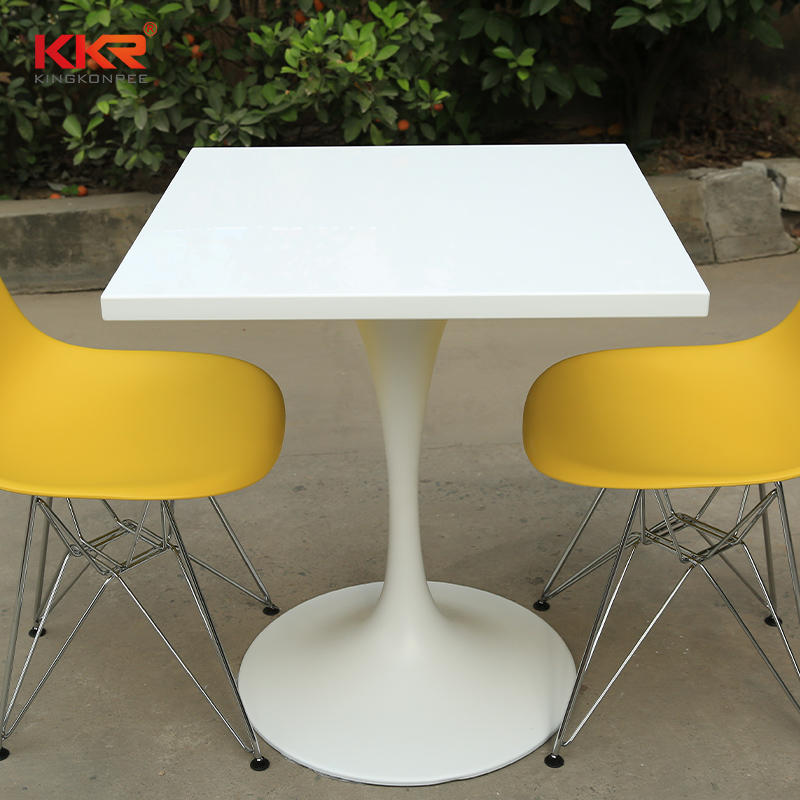 Unique Design White Solid Surface Dinning Table With White Base KKR-TP7