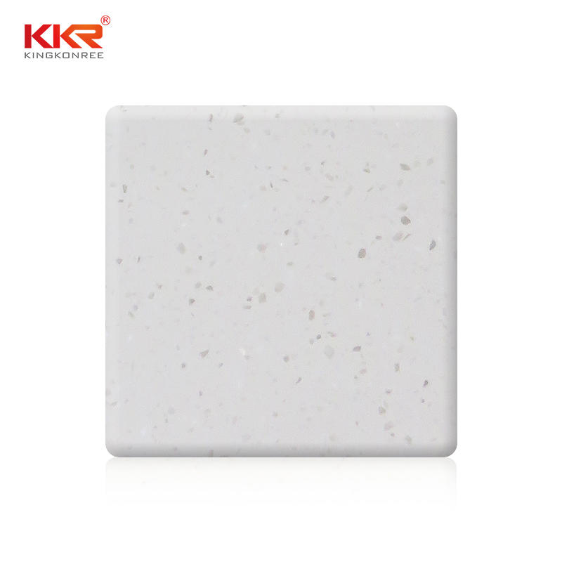 2440mm Length White Small Chips Acrylic Solid Surface Sheet KKR-M1642