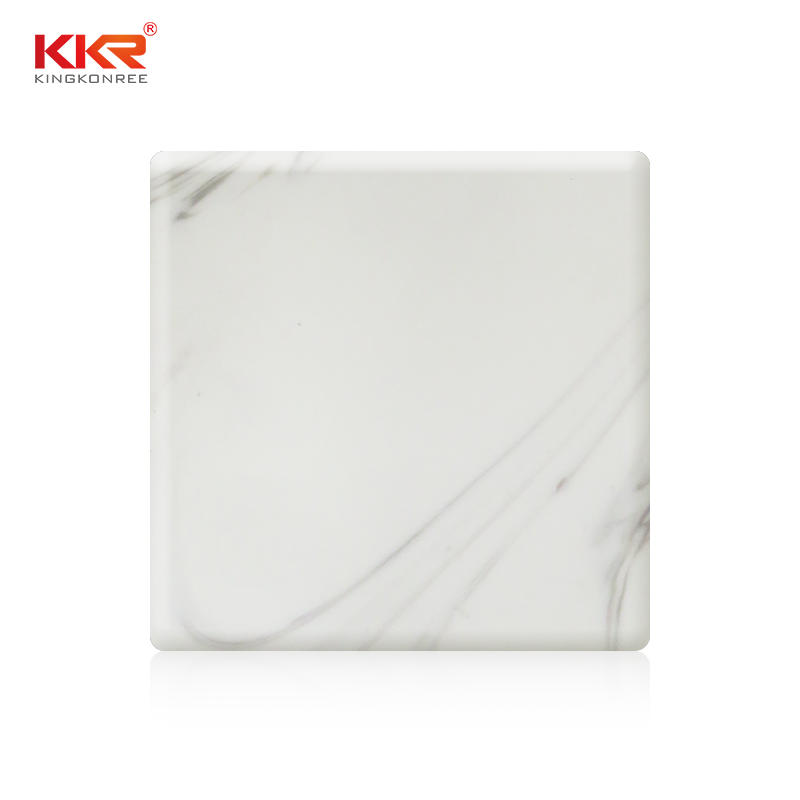 White Texture Pattern Arycli Marble Soild Surface Sheet KKR-M8816