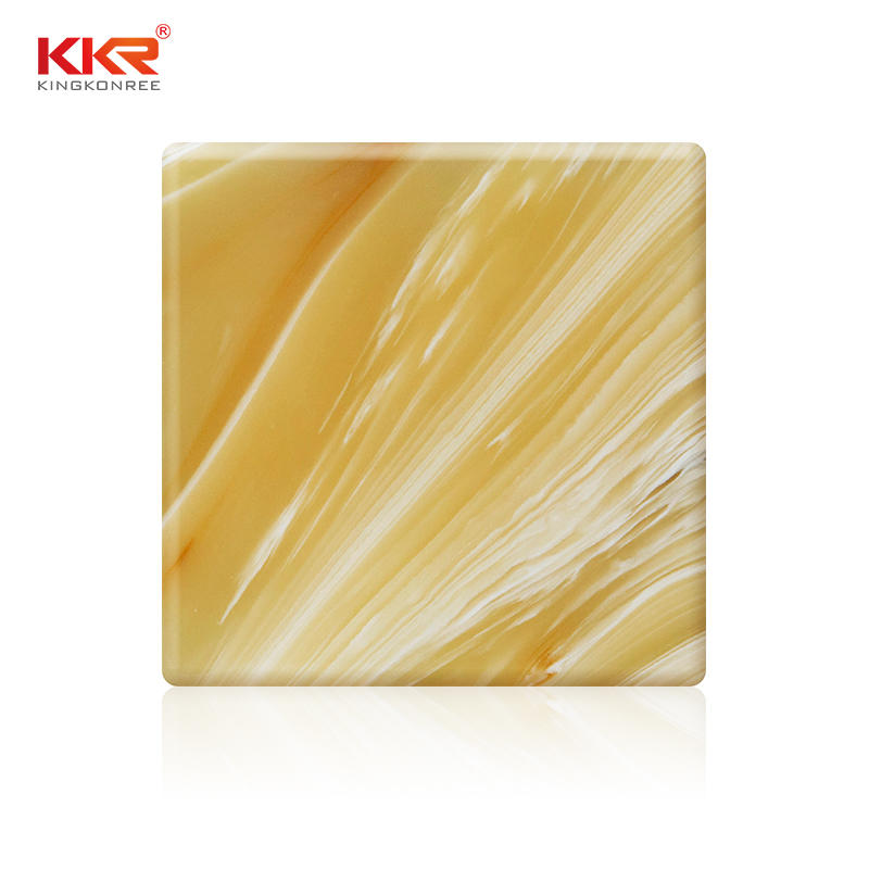 Phoenix Pattern Yellow Translucent Acrylic Solid Surface Sheet KKR-A029