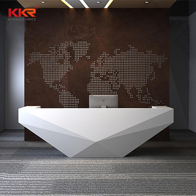 The Diamond Shape White Marble Acrylic Solid Surface reception Office Desk 08