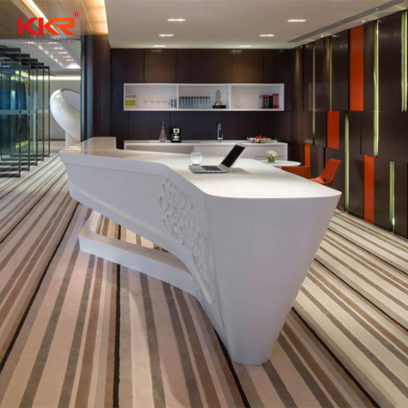 Custom-made Solid Surface Lobby Reception Office Desk 09