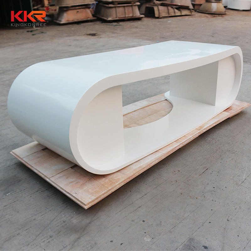 White Marble Acrylic Solid Surface Reception Office Desk 10
