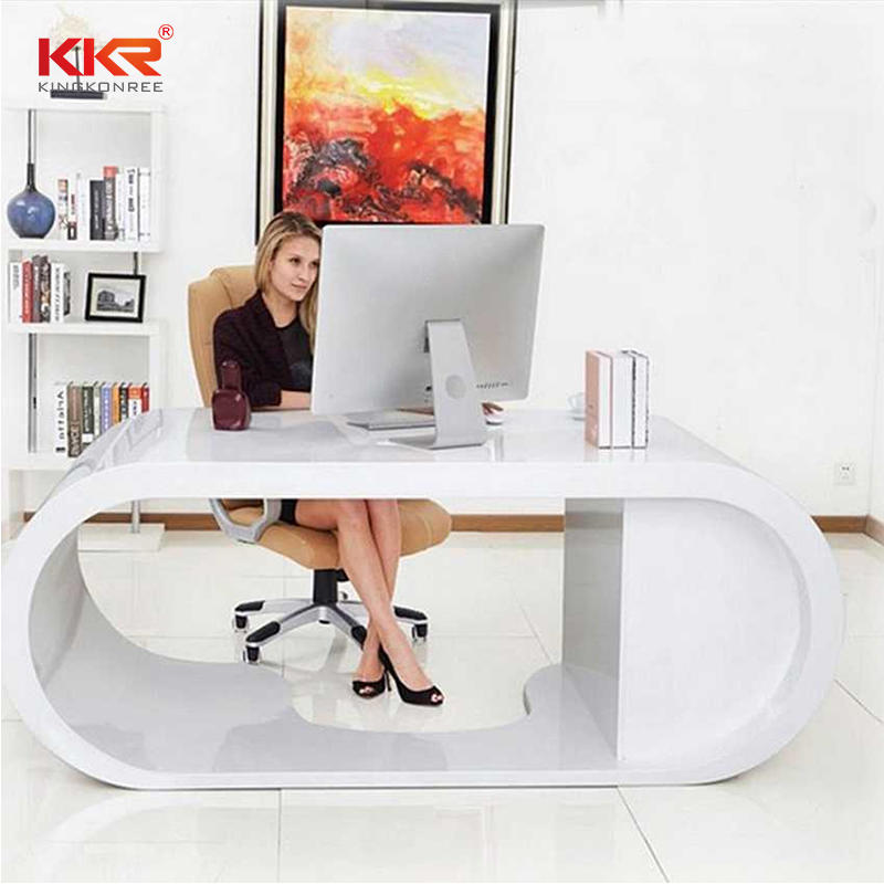 Royal Designing White Marble Acrylic Solid Surface Office Desk Countertop  001