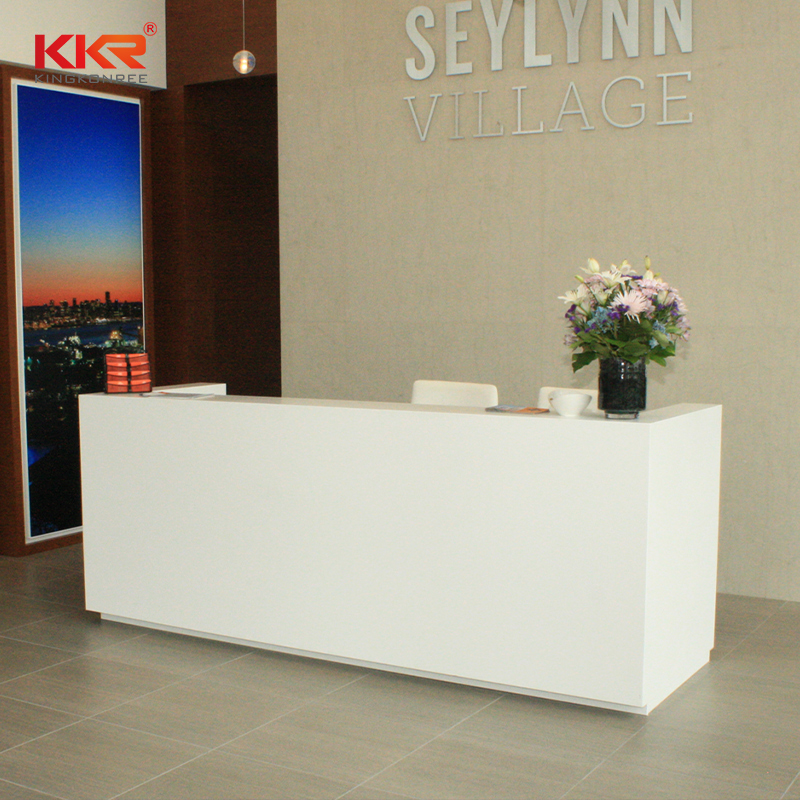 fashion design solid surface reception desk circle in special shapes for worktops-1