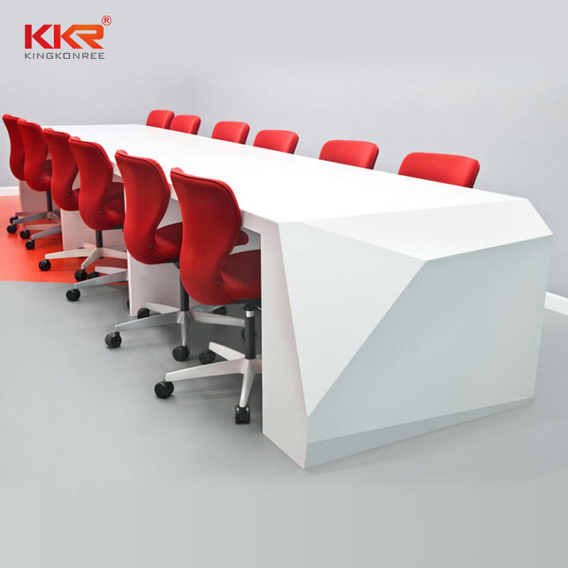 White Marble Acrylic Solid Surface Office Meeting Table 01