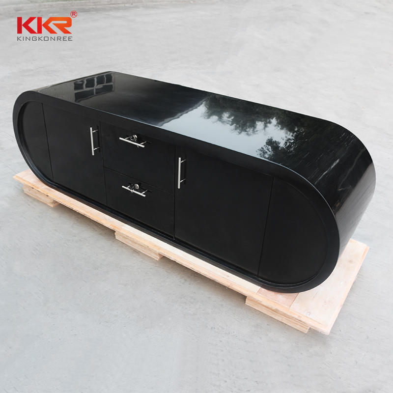 Black Stone Acrylic Solid Surface Reception Desk Office Desk Countertop 01