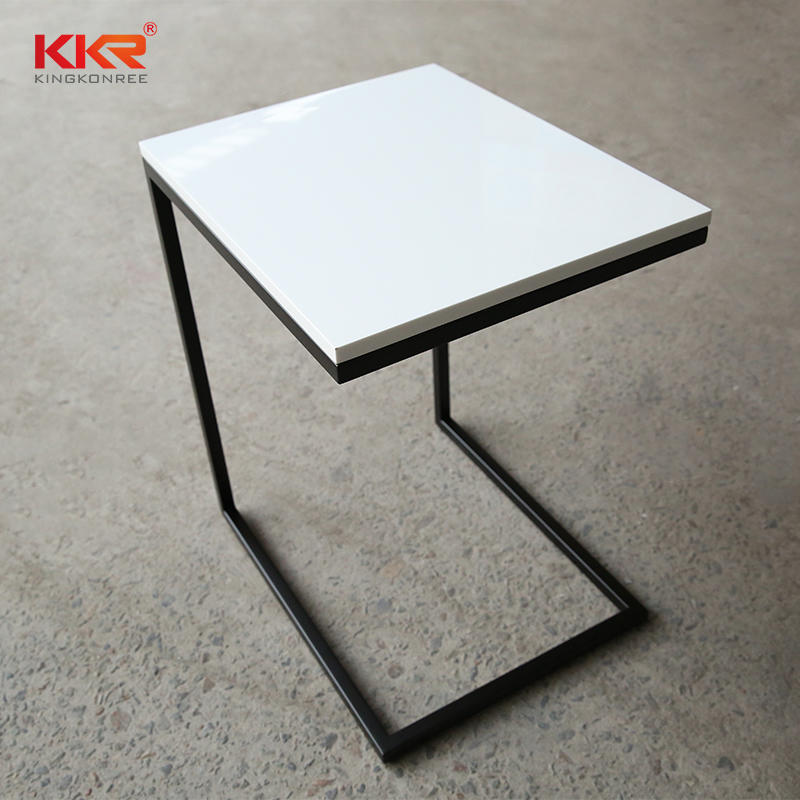 Classic White Marble Solid Surface Side Table With Black Stainless Steel Leg KKR-ST01