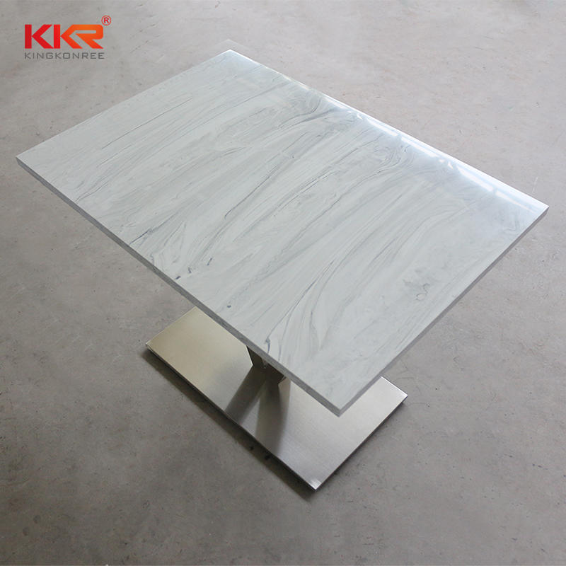 Marble Pattern Acrylic Solid Surface Table For 2 People Table 01