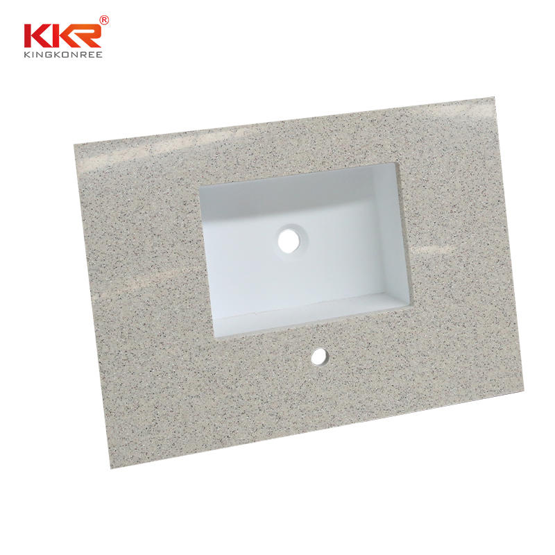 Sand Color Acrylic Stone Solid Surface Bathroom Countertop With Under Mount Sink - Solid Surface Bathroom Countertop 03