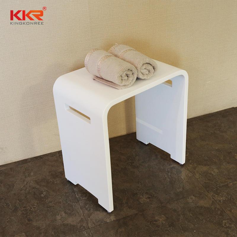 New Design Acrylic Resin Stone White Solid Surface Bathroom Stool KKR-Stool-K
