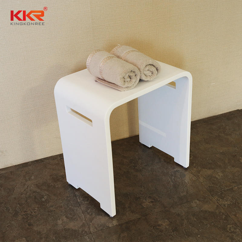New Design Acrylic Resin Stone White Solid Surface Bathroom Stool KKR-Stool-K