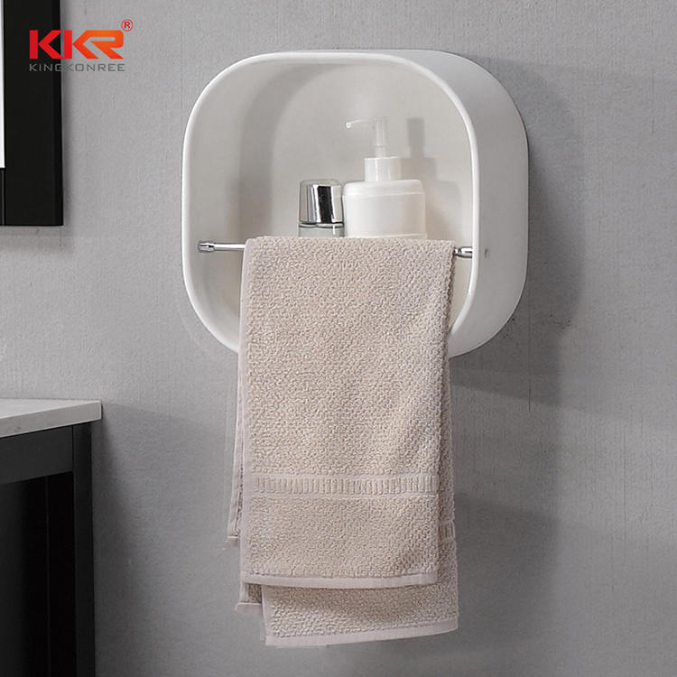Round Corner Solid Surface Bathroom Shelf With Towel Hanger KKR-1070