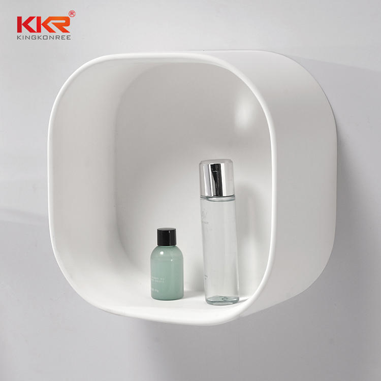 Round Corner White Acrylic Solid Surface Bathroom Shelf KKR-1070-1