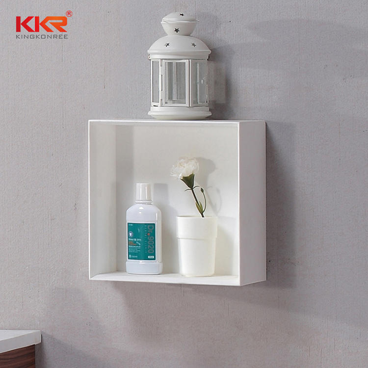 Square Artificial Stone Acrylic Solid Surface Wall Hung Bathroom Shelf KKR-1071