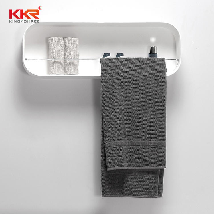 White Marble Acrylic Solid Surface Bathroom Shelf With Stainless Steel Towel Hanger KKR-1073