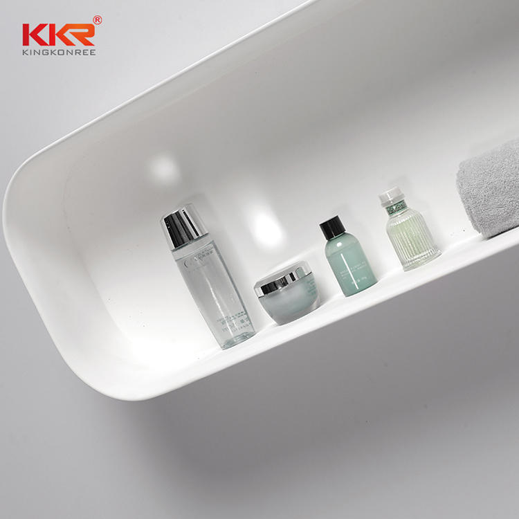 Royal White Acrylic Solid Surface Bathroom Shelf KKR-1073-1