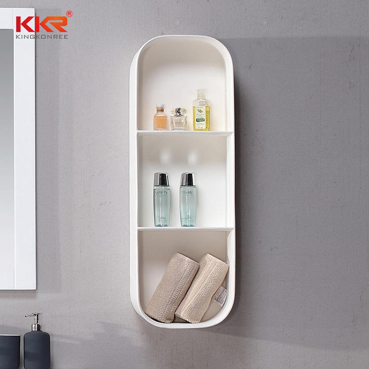 3 Boxes White Marble Acrylic Solid Surface Bathroom Shelf KKR-1075