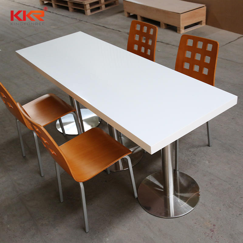 High glossy faux Acrylic Solid Surface long narrow dining table 08