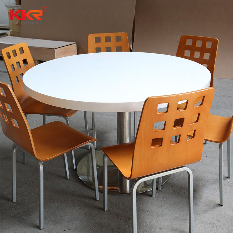 stone resin white square table / Solid Surface Table 09