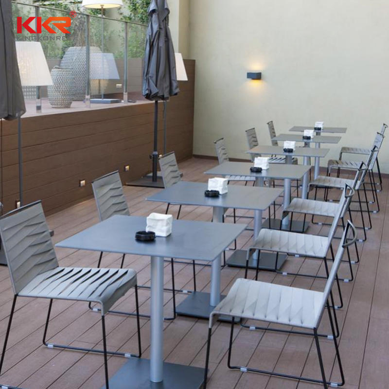 Solid surface furniture restaurant tables and chairs , round dinning table set , fast-food dinning table