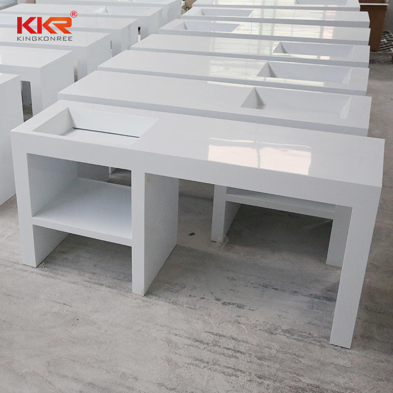 White solid surface cultured marble bathroom vanity top