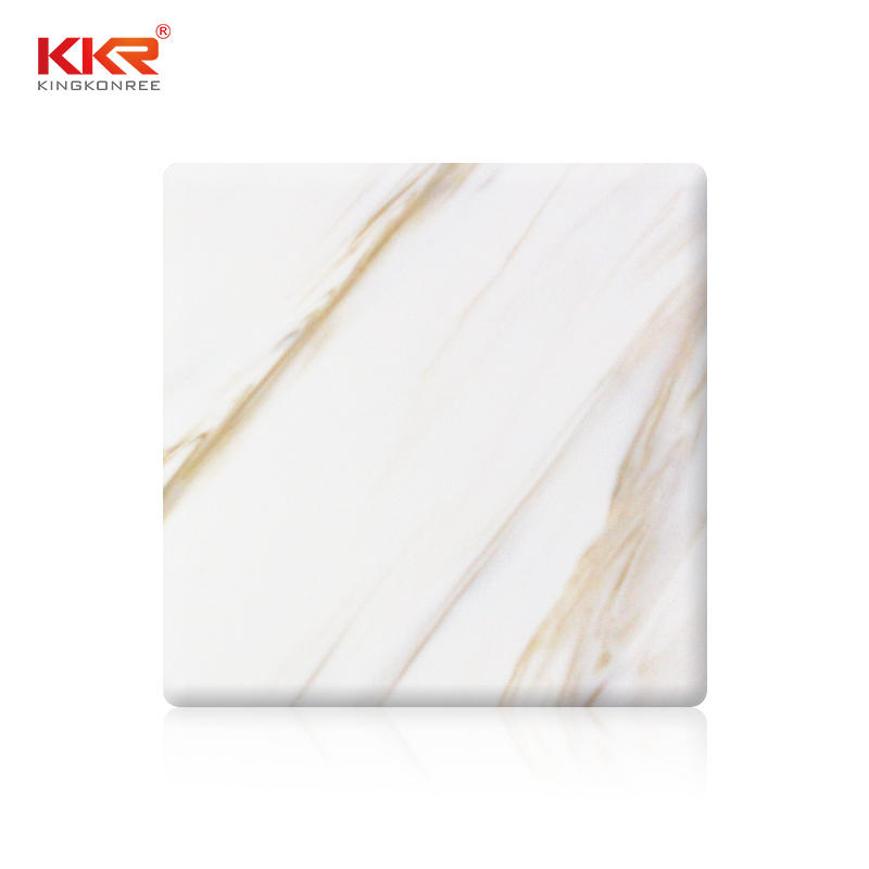 12mm thickness white artificial Solid Surface stone Sheet KKR-M8853