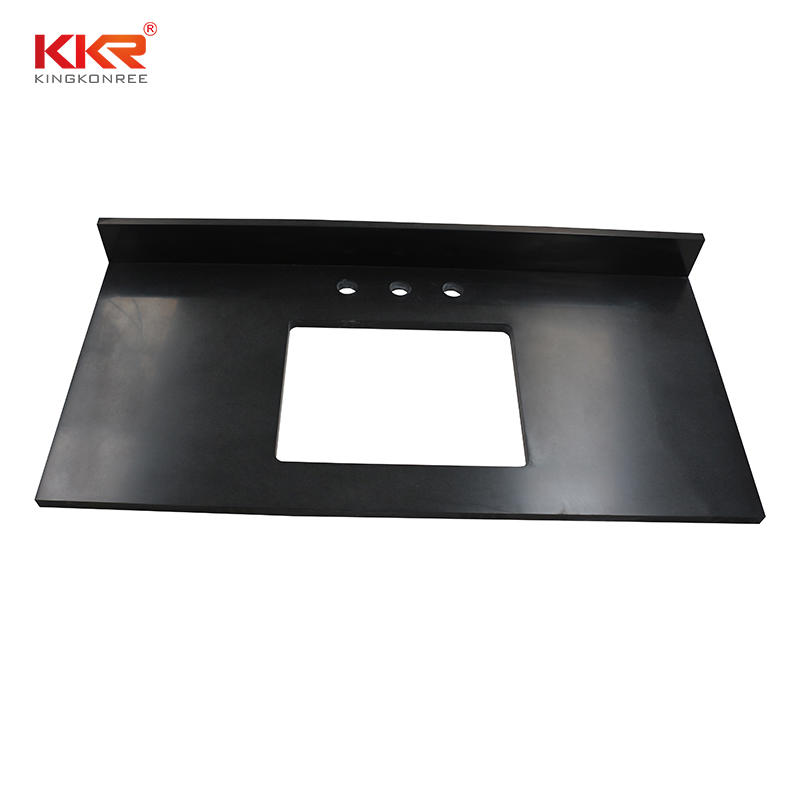 Black Artificial Marble Solid Surface High-End Bathroom Vanity Top