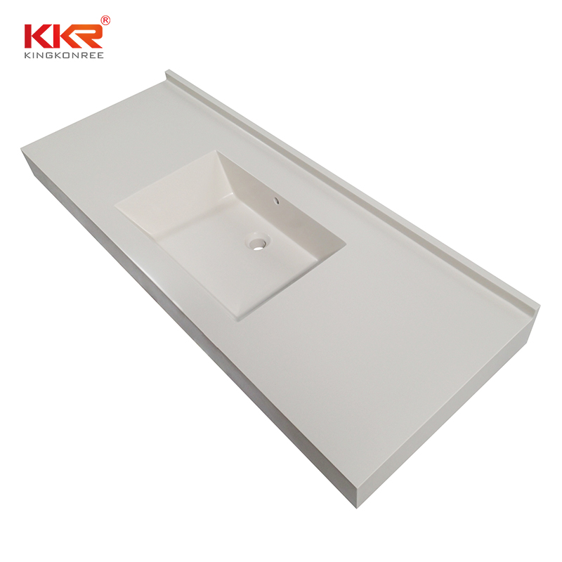 double Sink solid surface bathroom countertops artificial popular for kitchen tops-2