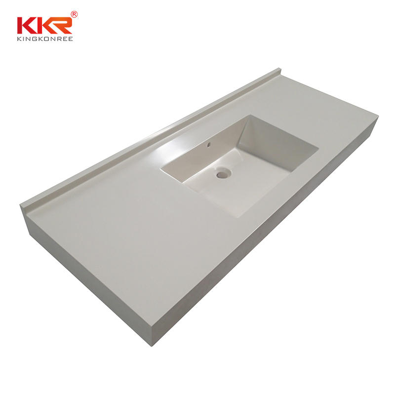double Sink solid surface bathroom countertops artificial popular for kitchen tops