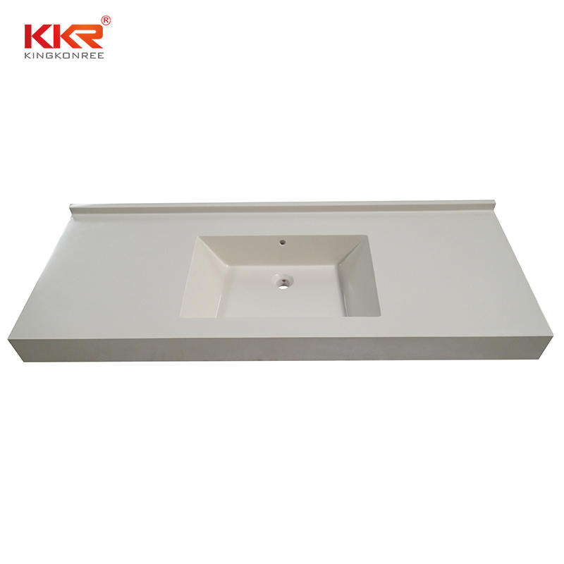 Good sale sparkle white solid surface artificial stone bathroom countertop vanity top