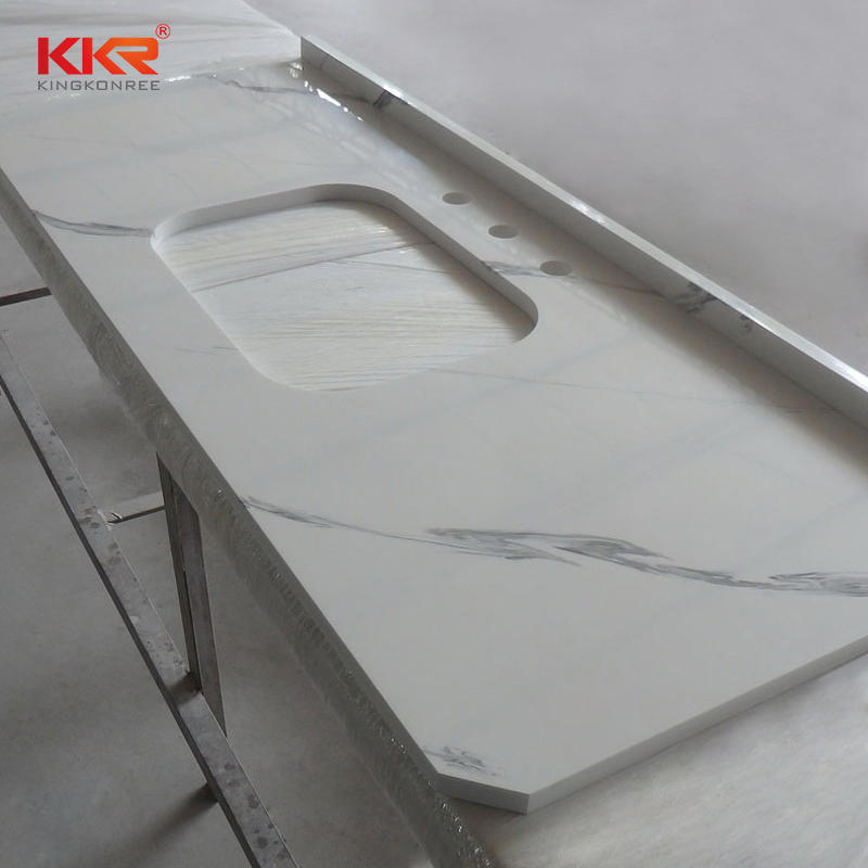 Natural Marble Color Acrylic Solid Surface Bathroom Vanity Top