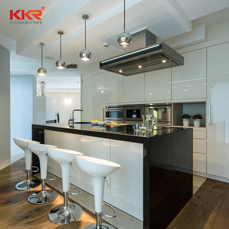 Black And White Acrylic Solid Surface Stone Kitchen Countertops Island Counter Tops Kkr