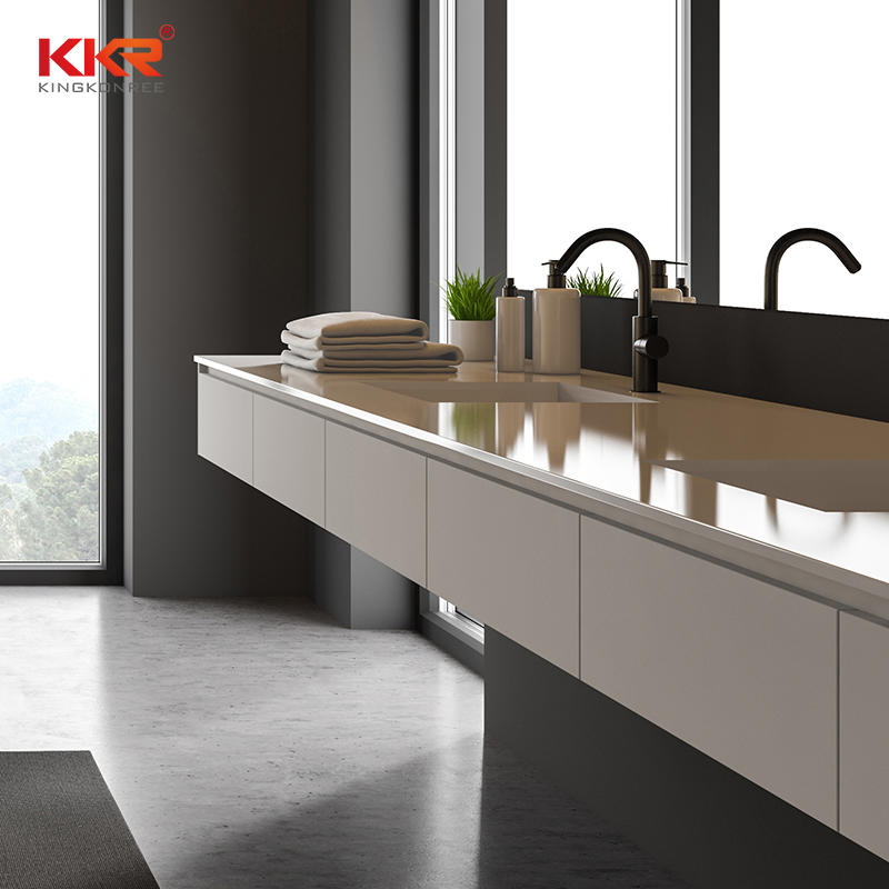 KKR Customized High-End Design Artificial Marble Solid Surface Bathroom Countertop Stone For Hotel