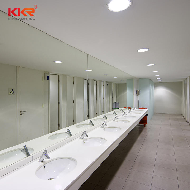 Customized Artificial Marble Solid Surface Acrylic Countertop Bathroom Stone Integrated Sinks With Countertops