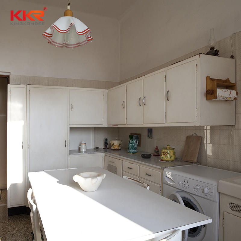 KKR Prefabricated Crystal White Marble Solid Surface Composite Quartz Countertop