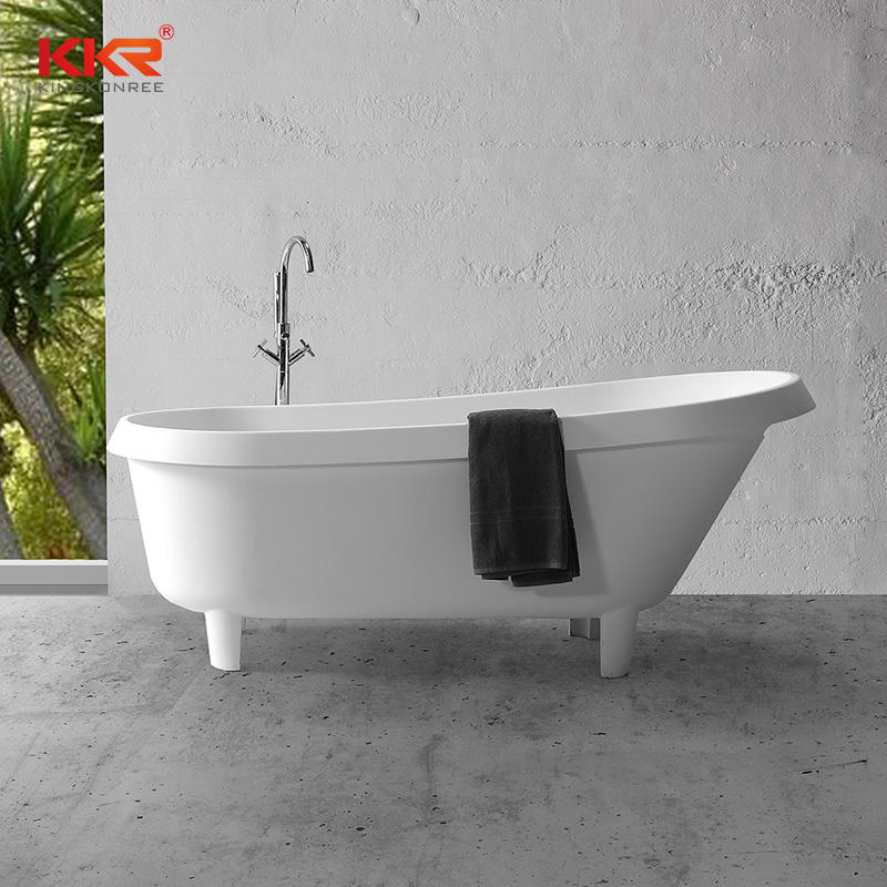 Modern Shaped Backrest Solid Surface Freestanding Acrylic Bathtub