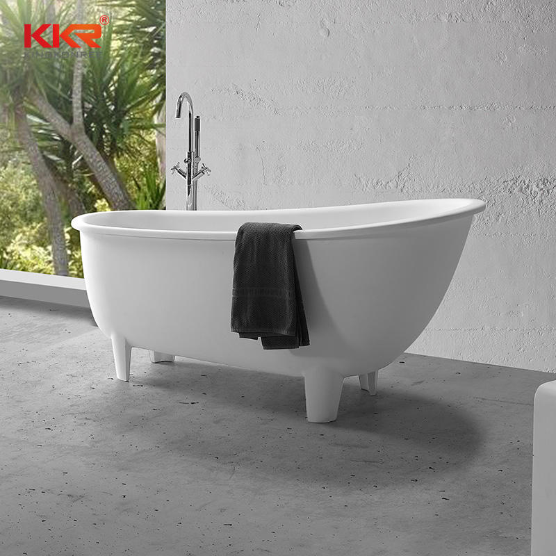 Hot selling white solid surface retro bathtub with clawfoot KKR-B095