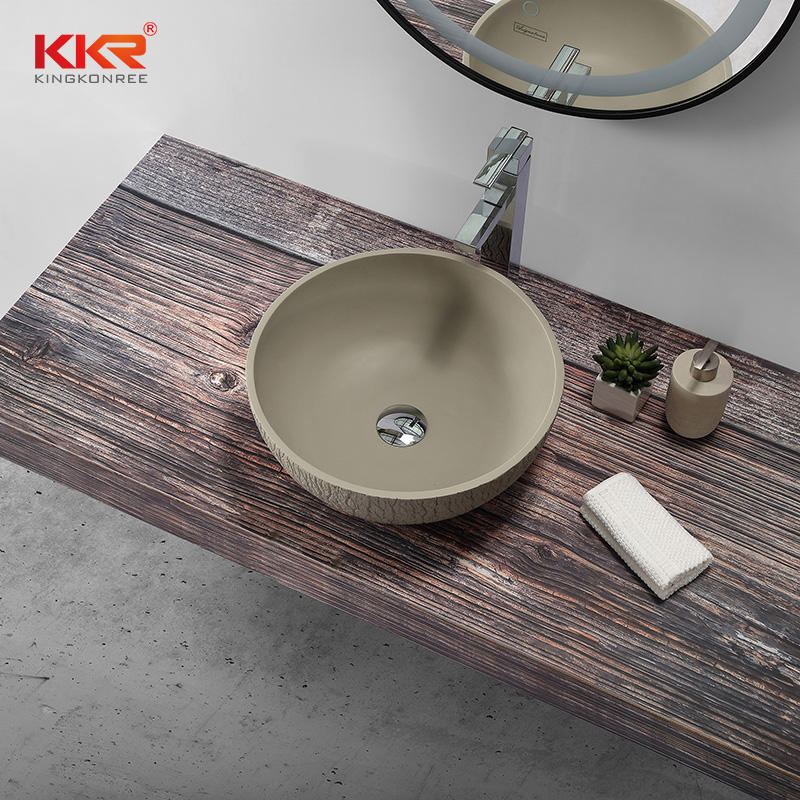 Rough surface bark grain cement grey countertop sink above countertop basin KKR-1161