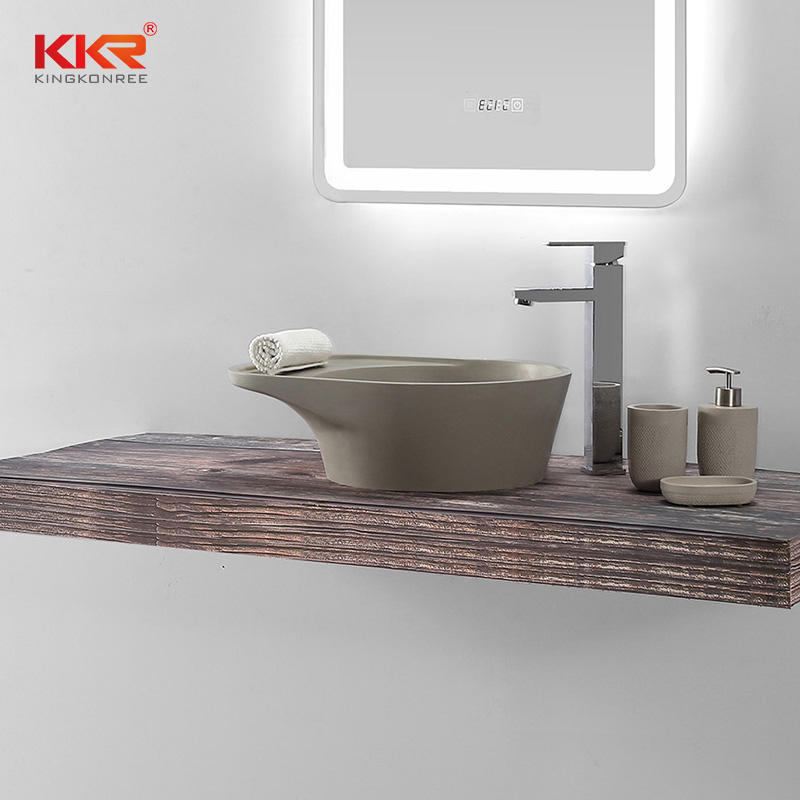 Popular color cement grey acrylic solid surface basin artificial stone washing basin KKR-1162